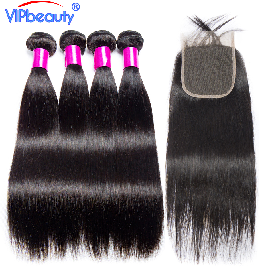 lace closure with 4 bundles VIP beauty non remy hair Brazilian straight human hair weave bundles with closure free part