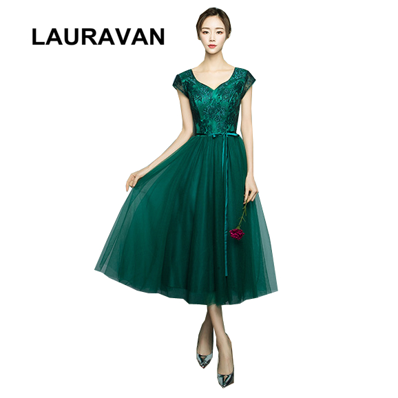 Short Lace Robe De Soiree V Neck Dark Green Elegant Fancy Sleeved Tea Length Evening Ball Gowns Dress For Special Occasion