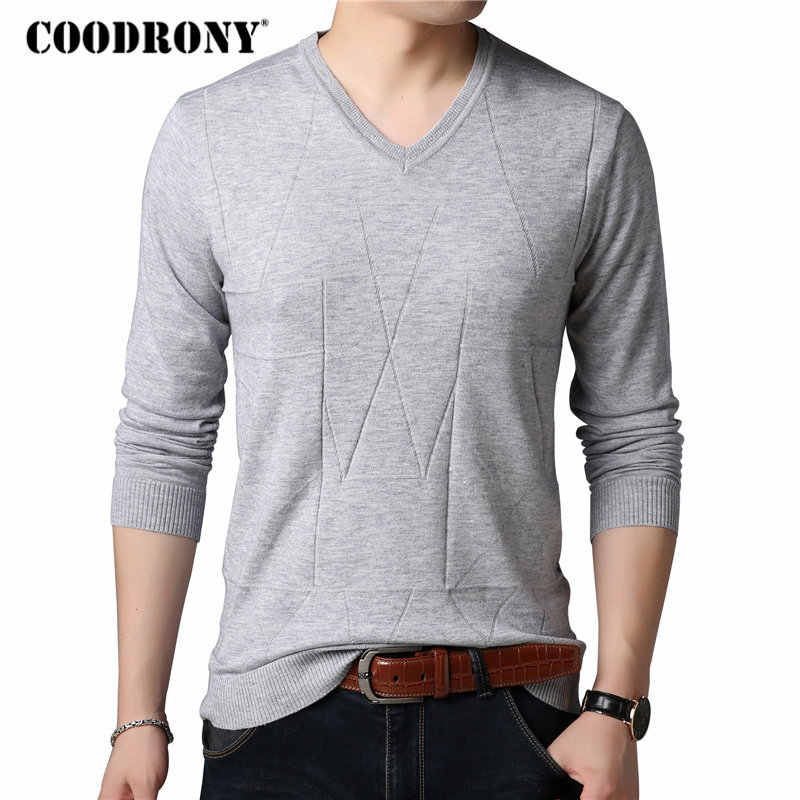COODRONY Sweater Men Casual V-Neck Pullover Men Clothes 2018 Autumn Winter New Arrival Pull Homme Knitted Cashmere Sweaters 8149