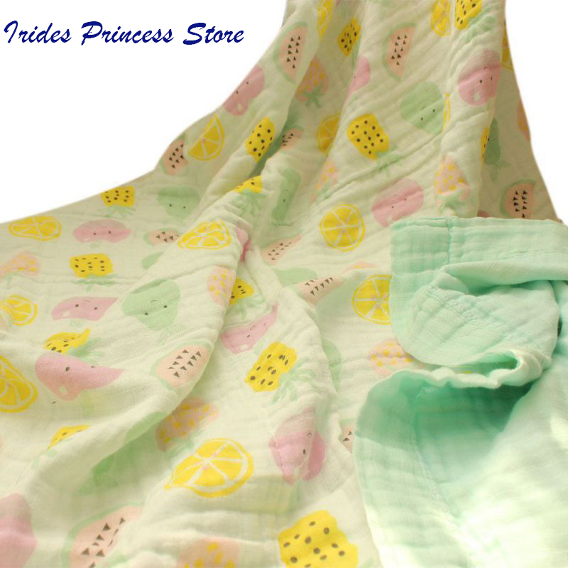 Baby Blankets Muslin Cotton Swaddles Newborn Wrap Gauze Crown Children Blankets Infant Bath Towel Size 120x120cm
