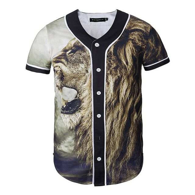 25d6b89229f New Men Women 3D Baseball Shirts Casual Short Sleeve Print Button Down  Clothes Fashion Hip Hop