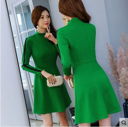 2019 winter women 39 s long sleeve one piece dresses female turuleneck black and green all match dress Slim Vestido in Dresses from Women 39 s Clothing