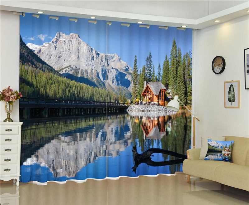 2017 Lake scenery Blackout Window Drapes Luxury 3D Curtains For Living room Bed room Office Hotel Home Wall Tapestry2017 Lake scenery Blackout Window Drapes Luxury 3D Curtains For Living room Bed room Office Hotel Home Wall Tapestry