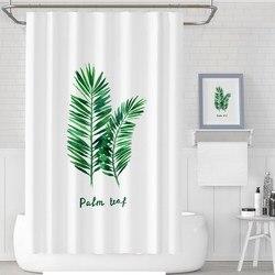 Custom Made zasłona prysznicowa kurtyna łazienkowa partycja 1m / 1.3m / 1.5m / 1.8m x 1.8m / 2m 2m x 2.2m / 2.4m x 2m białe liście