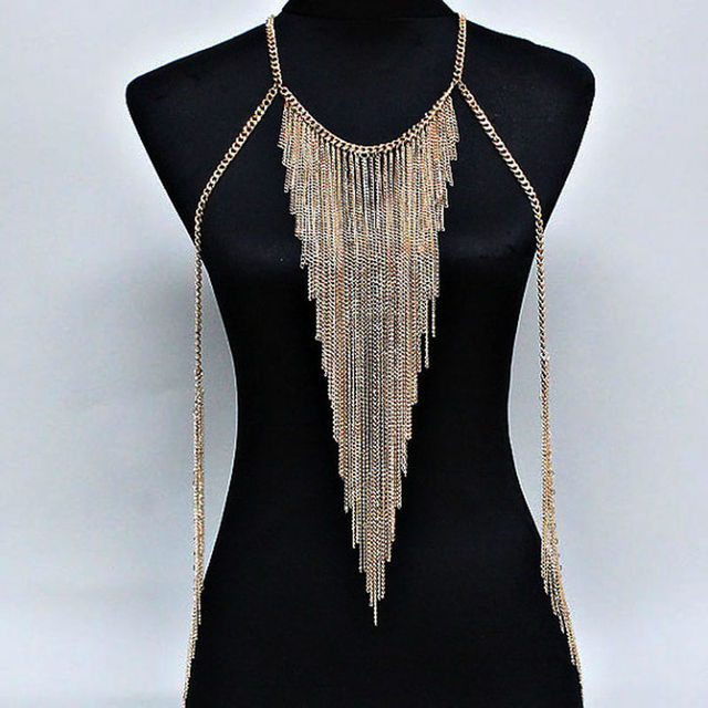 Fashion long tassel necklace women gold plated multilayer body chain Stage performances Nightclubs sexy show body jewelry C048