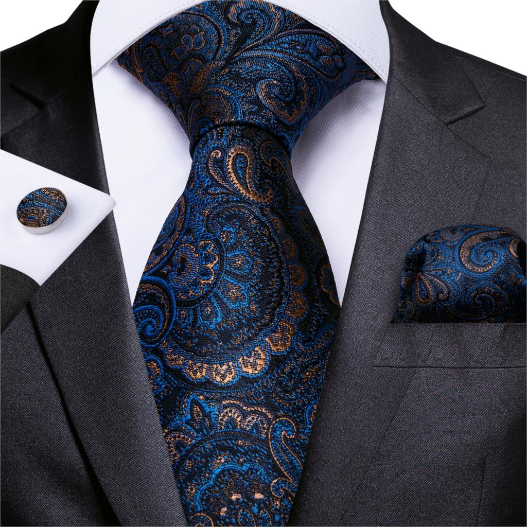 Mens Necktie Blue Gold Paisley Silk Wedding Tie For Men Handkerchief Cufflinks Set Business Party DiBanGu New Designer MJ-7108