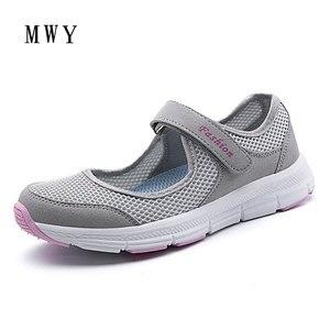 Image 4 - MWY קיץ אביב גבירותיי נעליים יומיומיות נשים סניקרס נעלי דירות Chaussure נעלי רשת לנשימה קל הנעל מותג מעצב