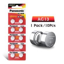 Panasonic 10 шт. 1,5 V кнопочный элемент Батарея lr44 Литиевые Батарейки-таблетки A76 AG13 G13A LR44 LR1154 357A SR44