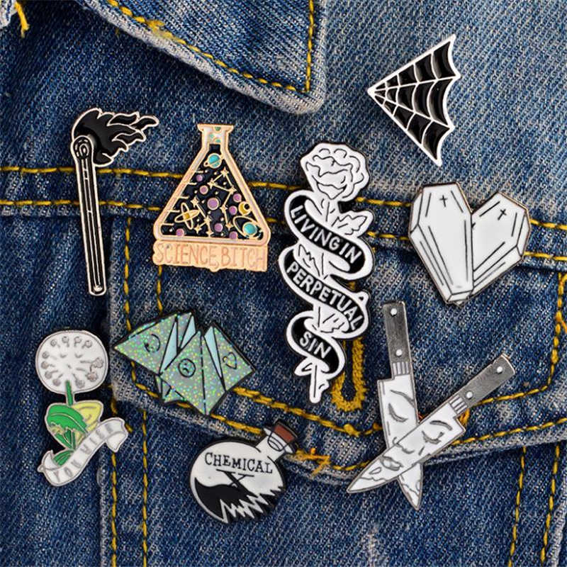 1 PC Dandelion Rose Dagger Match Enamel Brooch Denim Badge Collar Accessories Metal Brooches Alloy Badges for Clothes