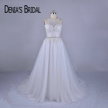 2018 Real Image Beaded Wedding Dresses A Line Crew Neck Court Train Bridal Gowns