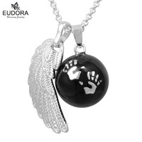 Mariana Guardian Angel Necklace For Children Silver Angel Wing Baby Hands Chime Ball Pregnancy Pendant Long