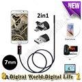 7mm Endoscópio USB 2em1 Android 6 PC mini Câmera LEVOU 2 M 5 M 10 m Telefone Inteligente Android OTG USB Endoscópio Tubo Cobra câmera de segurança