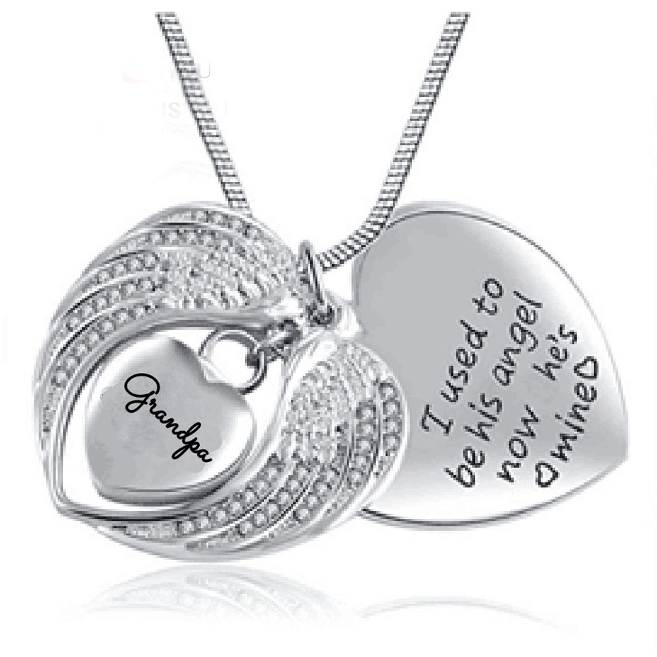 Angel Wing Urn Necklace: Angel Wing Heart Memorial Cremation Ashes Urn Pendant
