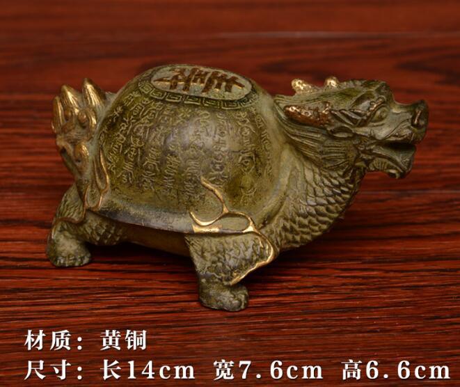 Ornements de noël + statue de tortue de Dragon en or sculpté en laiton pur, tortue de longévité longue 25 cm livraison gratuite - 4