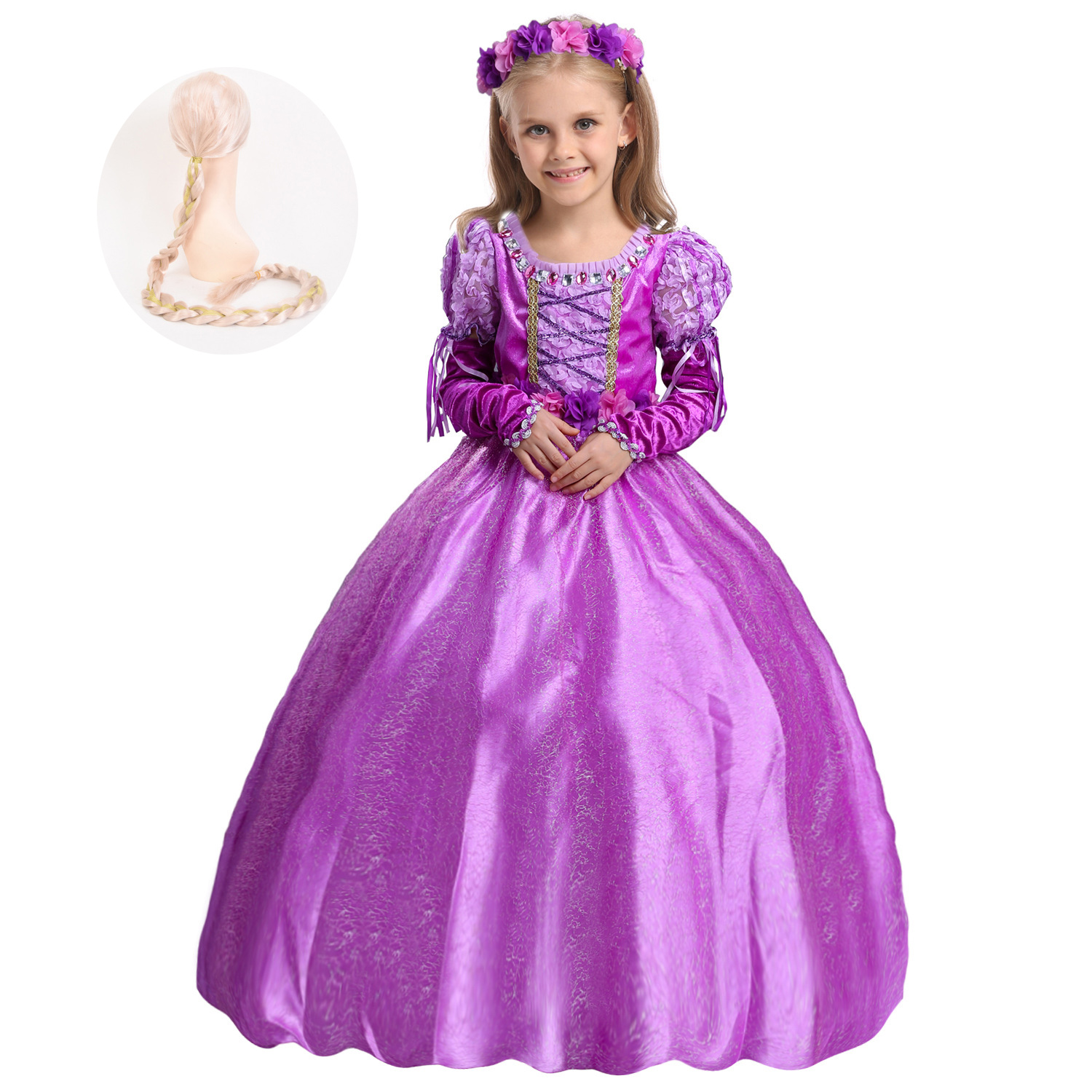 Fashion Fancy Purple Princess Party Dress Cosplay Halloween Girls Rapunzel Dress and Wig Up Costume Gown with Gloves girls dresses trolls poppy cosplay costume dress for girl poppy dress streetwear halloween clothes kids fancy dresses trolls wig