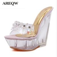 Summer High Heeled Cool Slippers Transparent Diamonds Crystal Shoes Wedge Heel Metal High Heels Sandals Women