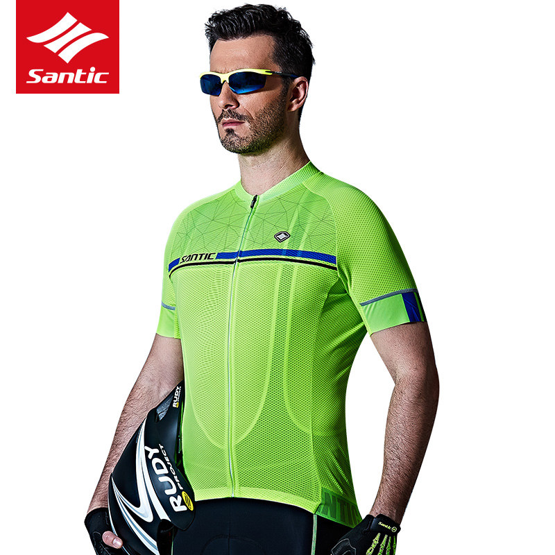 Santic Men Cycling Short Jersey Pro Fit SANTIC N-FEEL/Breathable Road/ MTB Bike Short Sleeve Top Riding Shirt 2019 Summer