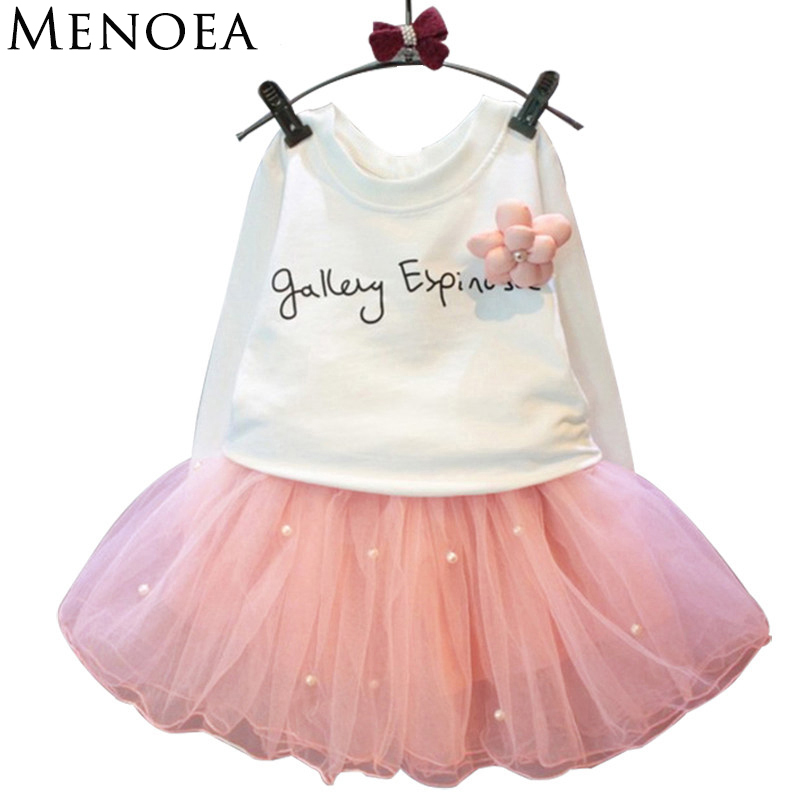 lovely girls white tee shirt and pink skirt with rhinestone clothes set for kids girl autumn children clothing set suit retail 05 lovely pink