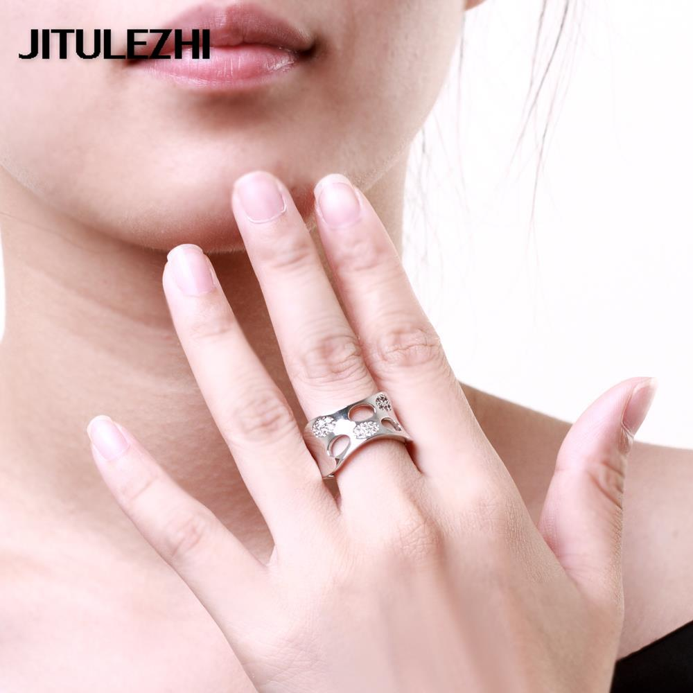 Wedding jewelry gold color rings yellow/white/rose gold inlaid ...