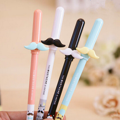 4 Pcs/lot Cute Kawaii Beard 0.35 Mm Black Ink Korean Gel Pens Writing School Office Supplies Kids Stationery White Black Pink