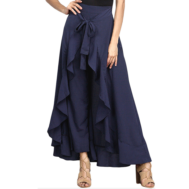 Women   Pants   Lotus Ruffle Irregular Skirt Trousers Bow   Wide     Leg     Pants   High Waist Lace Up Loose 2019 Summer   Pants