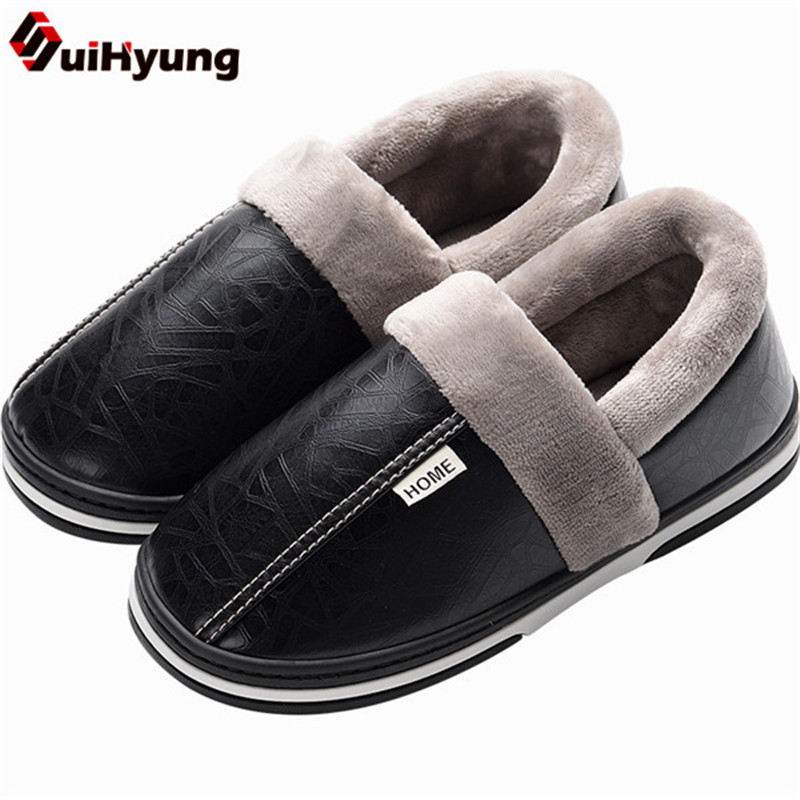 Suihyung Plus Size Women Men Cotton Shoes Quality PU Leather Non-slip Indoor Flat Shoes Winter Warm Plush Home Slippers Slip On size 35 44 genuine leather home slippers high quality women men slippers non slip cool indoor shoes men