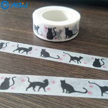 AAGU 1PC 1.5cm*10m Cute Black Cat Washi Tape DIY Decorative Scrapbooking Masking Tape Kawaii Stationery  Adhesive Paper Tape  new arrival adhesive silver golden glitter washi tape scrapbooking christmas party kawaii cute decorative paper crafts hot sale