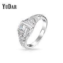 eb4fb91db049 Yudar vintage art deco filigrana 6mm ronda cubic ZIRCON anillo de compromiso  mejor regalos Anillos joyería nupcial para mujeres .