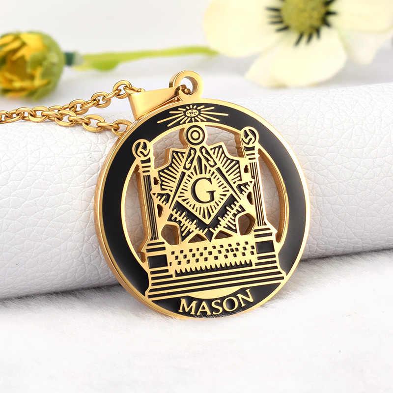 SOITIS Free-mason Hip Hop stal nierdzewna przeszłość mistrz masoński wolny Mason masoneria wisiorki Mason naszyjniki złoty kolor
