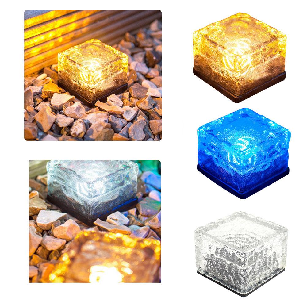 roca de hielo de ladrillo de vidrio de energa solar de luz led camino del