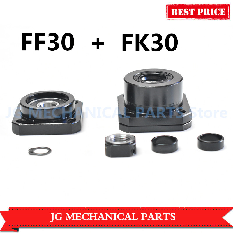 1set FK/FF30 fixed end support bearing id 30mm ballscrew end support macth use for ballscrew RM4005/4010 CNC parts tmt cnc ballscrew end support fk30 fixed side ff30 supported side fk30 c7 ff30 black