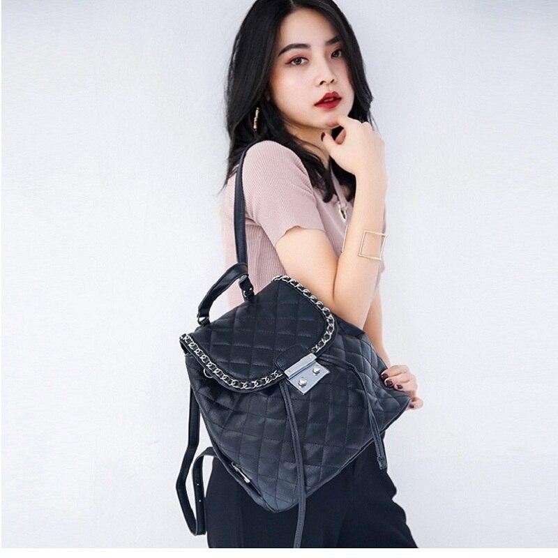 Caker femmes cordon sac à dos diamant treillis Plaid PU cuir noir grande chaîne sacs d'école pour filles dames voyage sac à dos