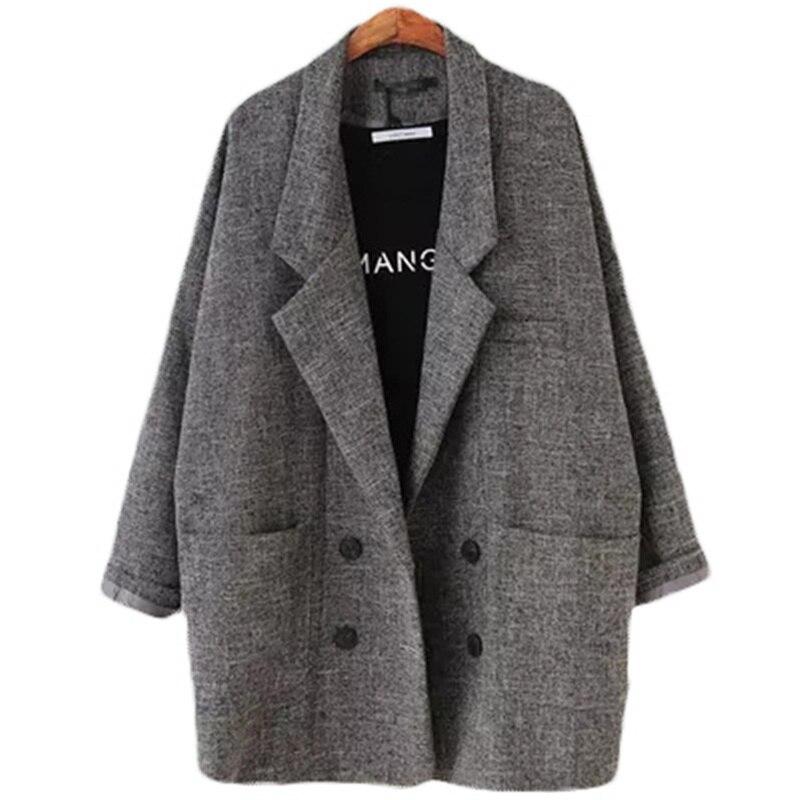 2018 טרייל נשים של Slim Fit בלייזר חליפת מעיל חאקי אפור משובץ נשים בתוספת גודל מזדמן בציר חליפה בליזר נשי l104