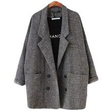 2018 Blazers Womens Slim Fit Blazer Suit Jacket Khaki Gray plaid Women Plus Size Casual Vintage Female L104