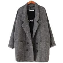 2018 Blazers femmes Slim Fit Blazer costume veste kaki gris plaid femmes grande taille décontracté Vintage costume Blazer femme L104