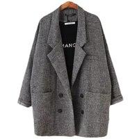 2018 Blazers Women's Slim Fit Blazer Suit Jacket Khaki Gray plaid Women Plus Size Casual Vintage Suit Blazer Female L104