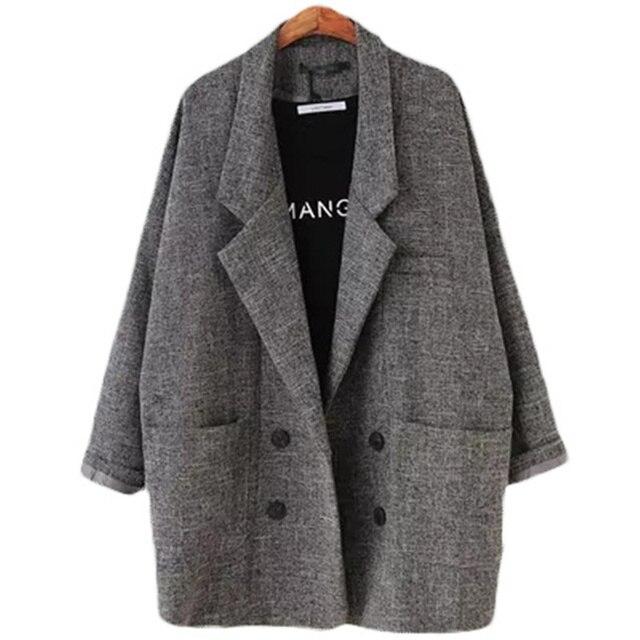 2018 пиджаки Для женщин Slim Fit Blazer пиджак цвета хаки серый плед для женщин; Большие размеры Повседневное Винтаж костюм пиджак женский L104