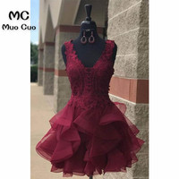 2018 Ball Gown Burgundy Homecoming Dresses Short with Appliques Lace V Neck Organza Homecoming Cocktail Party Dresses