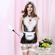 3880e59c78a Women Sexy Lingerie Dress Maid Uniform Sheer Lace Costume Cosplay French  Maid Sexy Lingerie Outfit Fancy