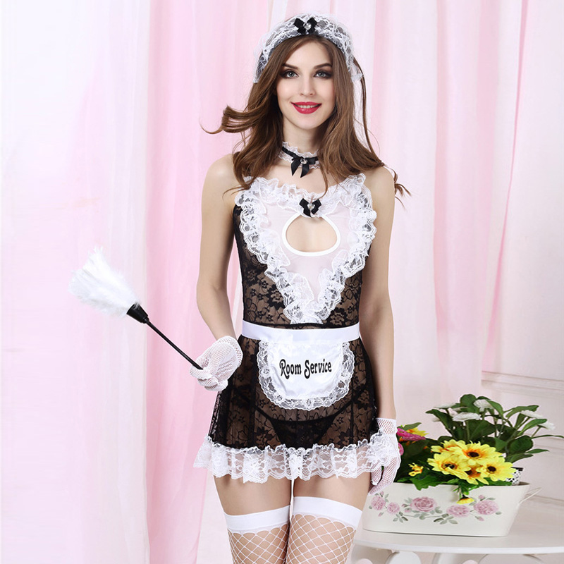 Sexy-Lingerie Womens Bow Heart Apron Costume French Maid Cosplay Underwear US