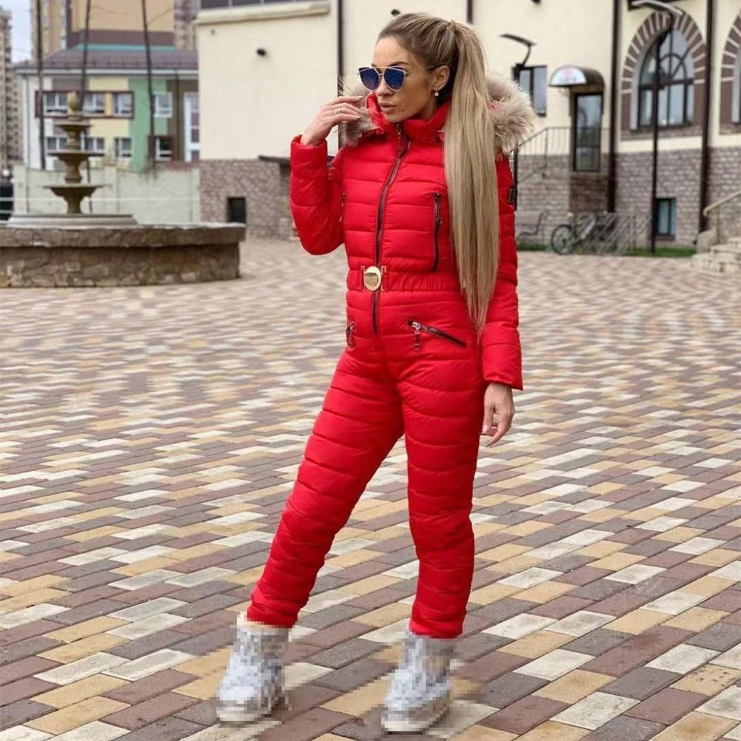 Nouveau hiver combinaisons à capuche Parka élégant coton rembourré chaud ceintures combinaison de Ski droite Zipper une pièce femmes survêtements décontracté és