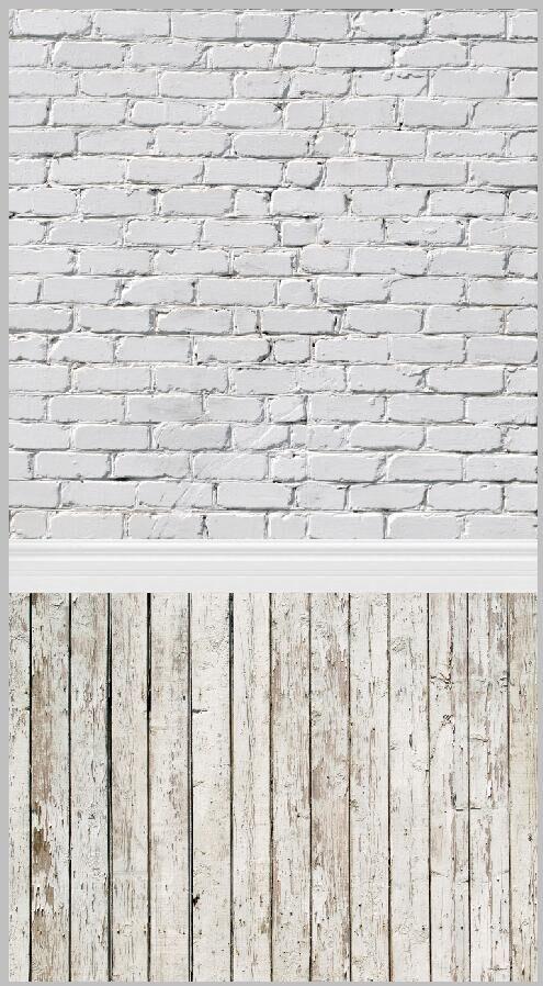 Prix pour 5x10ft toile Blanc Briques Mur Garniture Partie Vintage Lumière Plancher En Bois Personnalisé Photographie Décors Studio Milieux Vinyle 1.5x3 m