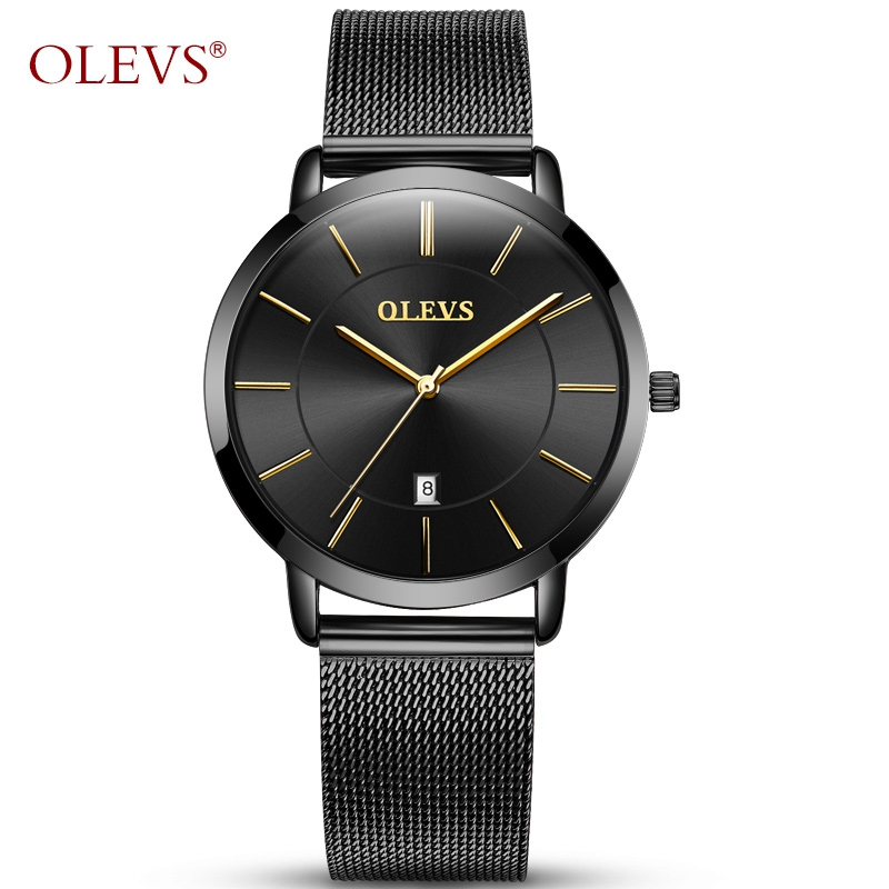 OLEVS Luxury Charm Women Watches Top Brand Gold Case Ladies Watch Clock Mesh Steel Strap Waterproof Wristwatches for Woman Gift olevs luminous hands women men quartz watch luxury gold case leather ladies wristwatches steel belt couple lovers watches clock