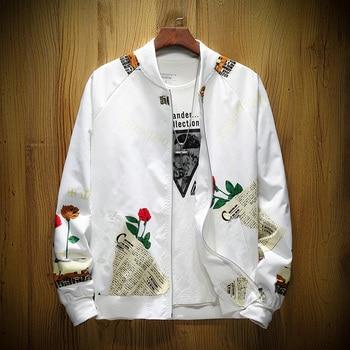ce9dcc7ee76 Классный бомбер мужская романтическая роза с цветочным принтом на молнии Куртки  ветровка мужской пальто jaqueta masculina M-5XL