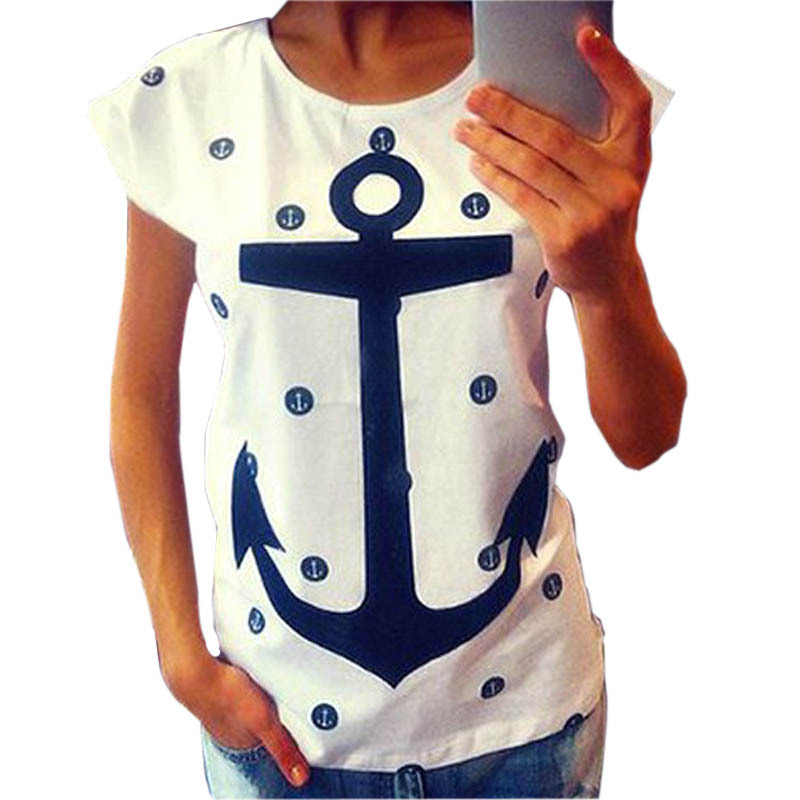 Feitong 2015 Women's Summer Style Letter Print Anchor Slim Cotton Casual Shirts Tops T Shirts Plus Size XXL Free Shipping