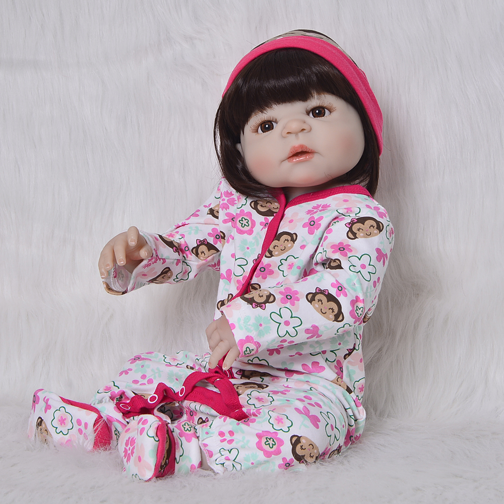 2018 Fashion Reborn Dolls Girl 23'' Full Silicone Vinyl Body Lifelike 57 cm Newborn Baby Doll Birthday Christmas Babies Gifts christmas gifts in europe and america early education full body silicone doll reborn babies brinquedo lifelike rb16 11h10