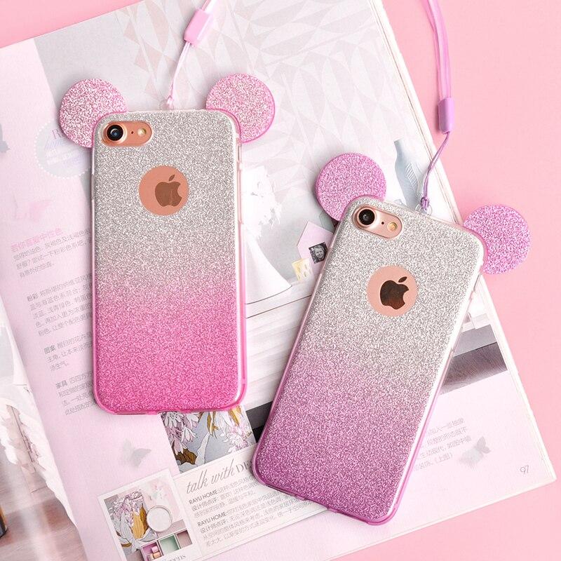 Grandient Mickey Ears Phone Samsung S9 Galaxy S8 Plus S6 S7 Edge A3 A5 A7 J3 J5 J7   Back Cover