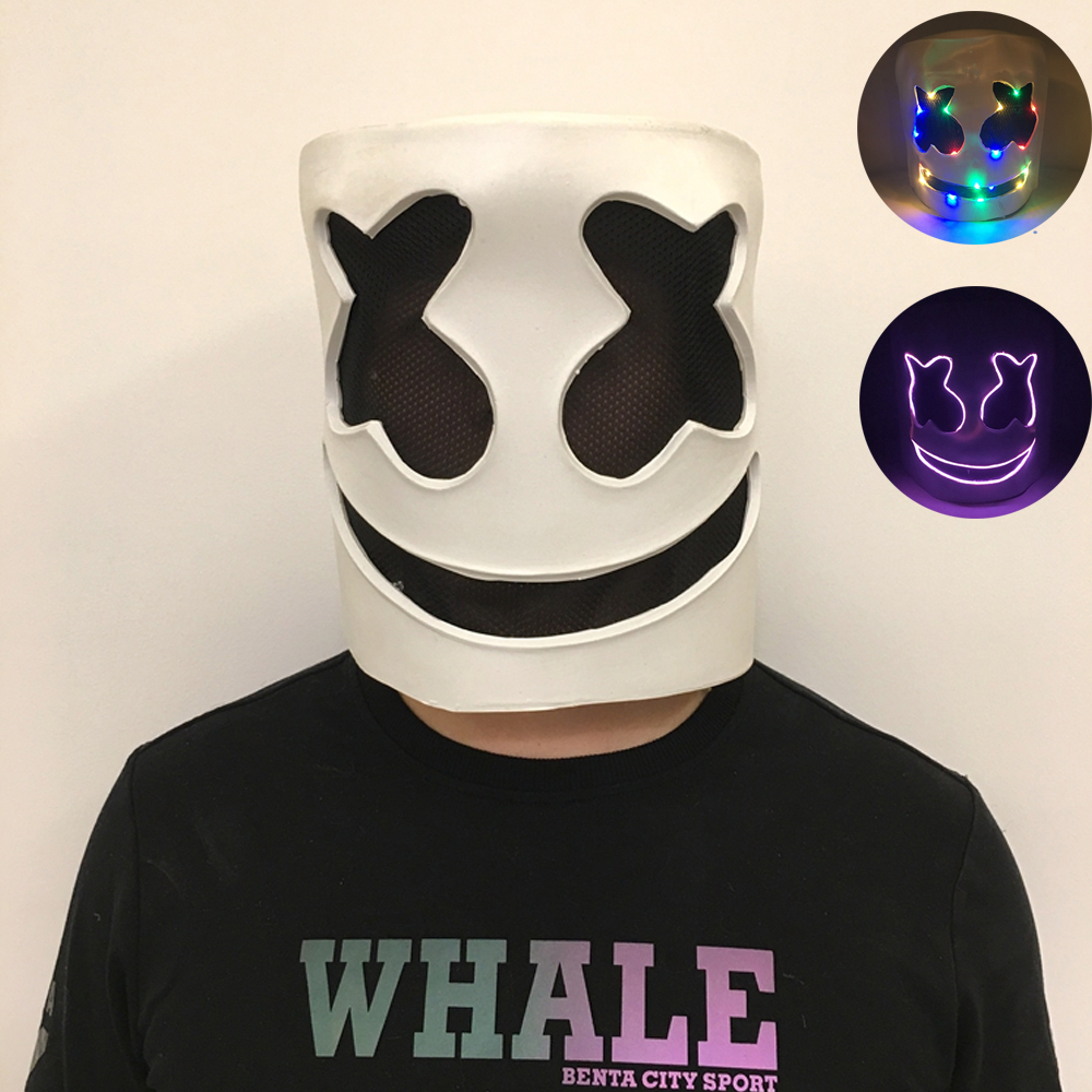 DIY LED DJ Music Prop Costume MarshMello Mask Full Head Helmet Cosplay Bar US