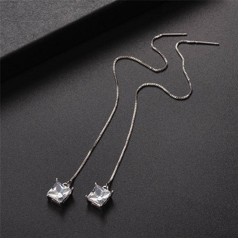 Earings Fashion Jewelry 2018 Women Elegant Silver Fashion Rhinestone Drop Long Chain Tassel Earrings Dropshipping Jun20.18
