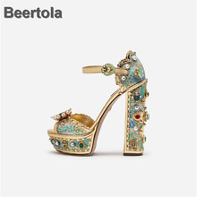 Platform High Heels Sandals Women Beading Crystal Floral Gladiator Rivet Elegant Buckle Strap Cover Heel Summer Shoes